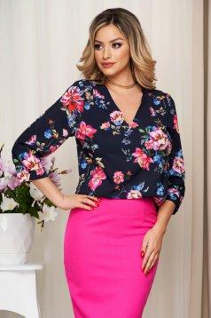 Bluza dama StarShinerS bleumarin cu imprimeu floral cu croi larg din material subtire