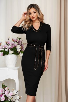 StarShinerS black office midi pencil dress from elastic fabric accessorized with tied waistband