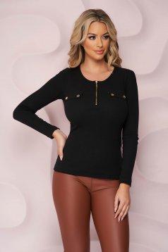 Bluza dama SunShine neagra mulata din material reiat din bumbac accesorizata cu fermoar si cu nasturi aurii