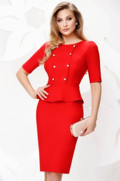 Red dress pencil midi office with button accessories