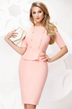 Lightpink dress pencil midi office with button accessories