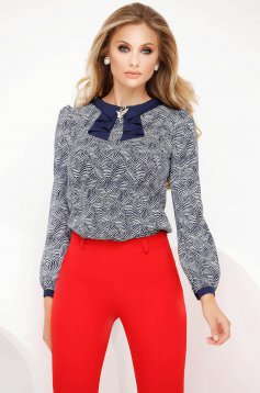 Darkblue women`s blouse office loose fit accessorized with breastpin