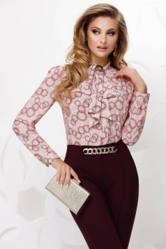 Pink women`s blouse office from veil fabric loose fit