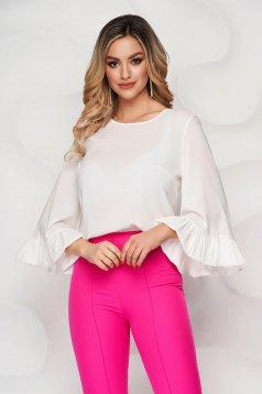 Bluza dama StarShinerS ivoire scurta din voal usor elastic cu croi larg