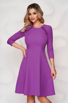 StarShinerS purple office midi cloche dress slightly elastic fabric with ruffle details