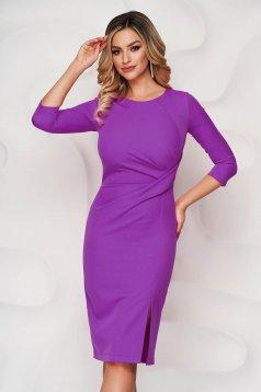 StarShinerS purple dress office midi pencil slightly elastic fabric slit