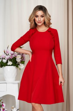 StarShinerS red office midi cloche dress slightly elastic fabric with ruffle details