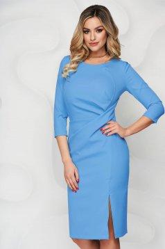 StarShinerS blue dress office midi pencil slightly elastic fabric slit