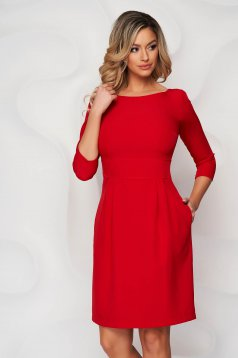 StarShinerS red dress slightly elastic fabric with pockets short cut a-line