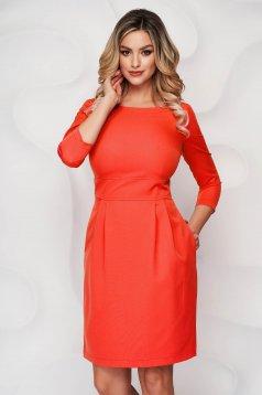Rochie StarShinerS portocalie scurta din stofa usor elastica cu croi in a si buzunare