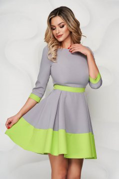 StarShinerS grey short cut cloth dress with 3/4 sleeves