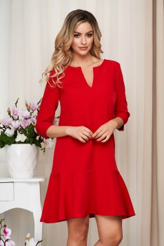 StarShinerS red short cut loose fit cloth dress with 3/4 sleeves