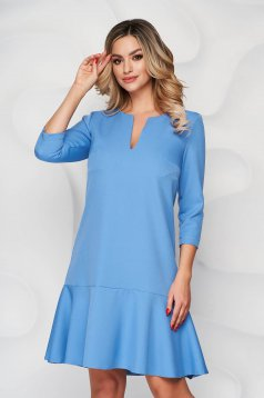 Rochie StarShinerS albastra scurta cu croi larg din stofa cu maneci trei-sferturi