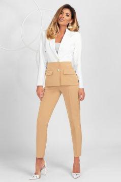 Pantaloni PrettyGirl crem office conici din material usor elastic cu nervura pe mijloc