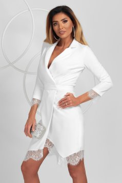 Dress white elegant with lace details slightly elastic fabric pencil