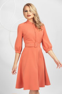 Dress coral office midi cloche slightly elastic fabric with button accessories