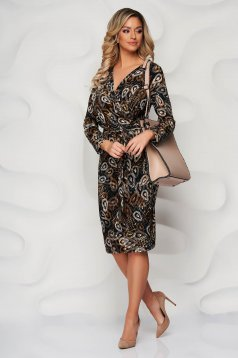 StarShinerS brown from elastic and fine fabric wrap over front pencil dress accessorized with tied waistband