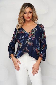 Bluza dama StarShinerS cu imprimeu floral decolteu in