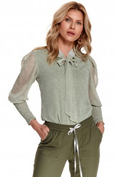 Mint women`s blouse dots print padded bust transparent sleeves