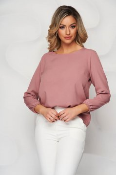 StarShinerS lightpink women`s blouse loose fit with rounded cleavage from elastic fabric
