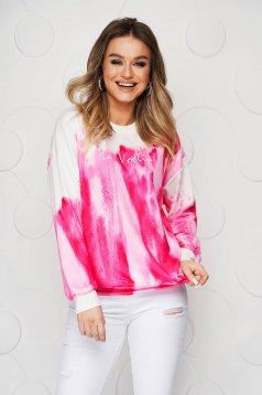 Pink women`s blouse loose fit short cut from elastic and fine fabric