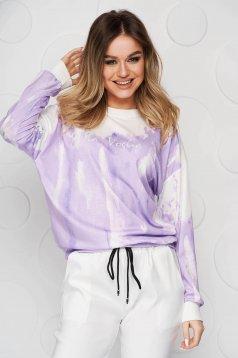 Bluza dama SunShine mov in degrade din material elastic si fin cu croi larg scurta