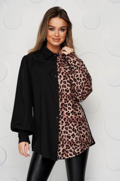 Black women`s shirt airy fabric with puffed sleeves loose fit