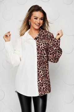 White women`s shirt airy fabric with puffed sleeves loose fit