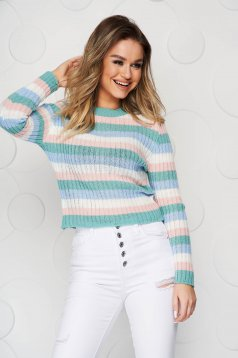 White sweater from elastic fabric from striped fabric tented knitted