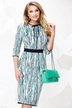 Green dress elegant midi pencil thin fabric with bow accessories