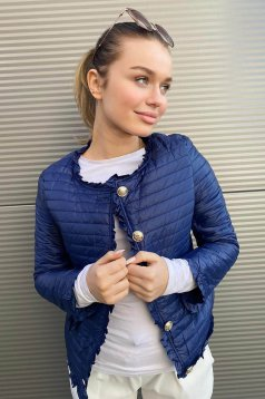 Darkblue jacket short cut tented thin fabric with ruffle details from slicker