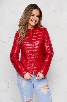 Red jacket tented from slicker metal eyelets fastening