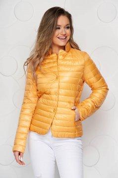 Yellow jacket tented from slicker metal eyelets fastening