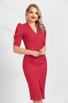 Red pencil midi dress top wrinkled sleeves frontal slit