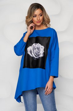 Blue women`s blouse cotton with crystal embellished details with graphic details