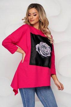 Bluza dama SunShine roz din bumbac cu imprimeuri grafice cu pietre strass