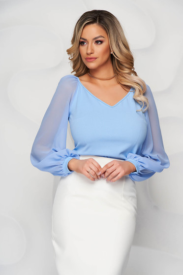StarShinerS lightblue occasional women`s blouse with tented cut with v-neckline transparent sleeves