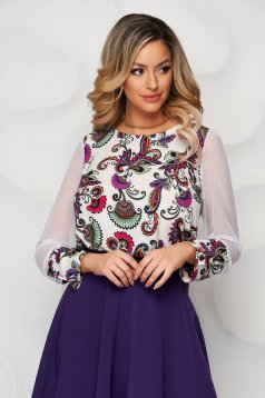StarShinerS purple women`s blouse loose fit with elastic waist transparent sleeves