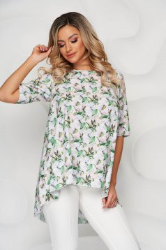 StarShinerS green loose fit asymmetrical women`s blouse