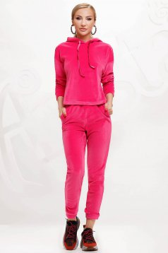Fuchsia sport 2 pieces 2 pieces loose fit with undetachable hood