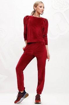 Burgundy sport 2 pieces velvet top wrinkled sleeves
