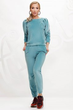 Mint sport 2 pieces velvet top wrinkled sleeves