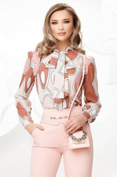 Cream women`s blouse from veil fabric bow accessory
