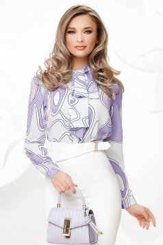 Lila women`s blouse from veil fabric bow accessory