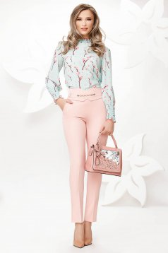 Pantaloni Fofy roz deschis eleganti conici cu talie inalta si buzunare