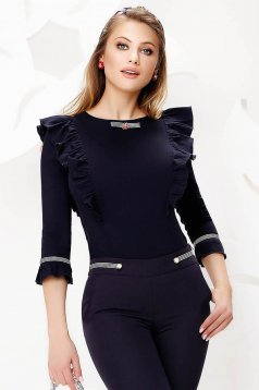 Darkblue women`s shirt slightly elastic cotton with ruffle details tented accessorized with breastpin