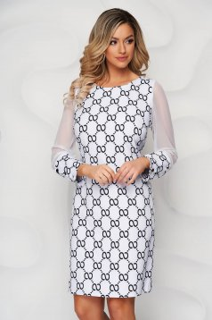 With graphic details office straight transparent sleeves ivory dress