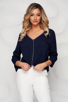 Darkblue women`s blouse v back neckline with glitter details loose fit