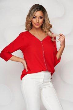 Red women`s blouse v back neckline with glitter details loose fit
