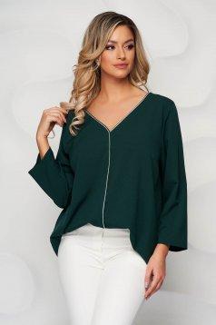 Bluza dama Lady Pandora verde petrol cu croi larg decolteu in